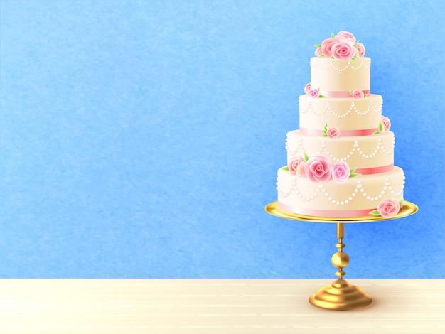 Hochzeits-kuchen mit realistischer abbildung der rosen Kostenlosen Vektoren