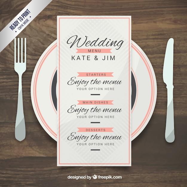 Hochzeits-Menü-Vorlage im eleganten Stil | Download der kostenlosen ...