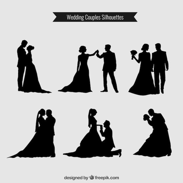 Hochzeits-paare silhouetten sammlung Premium Vektoren