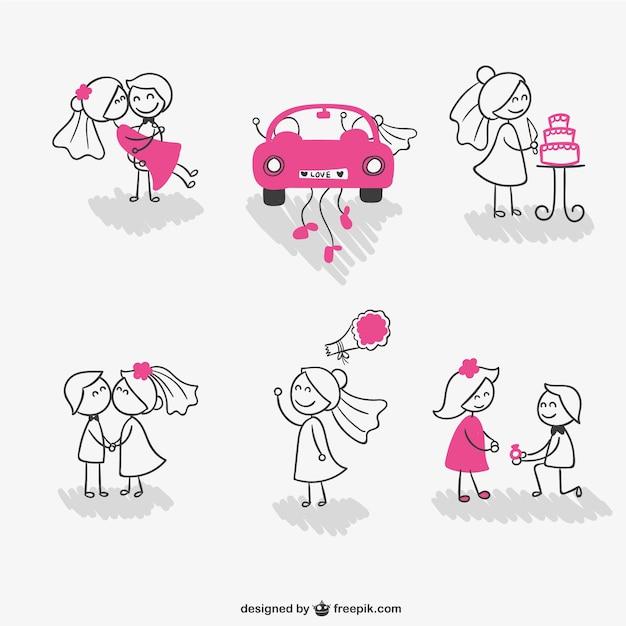 Hochzeits-strichmännchen-paar Kostenlosen Vektoren