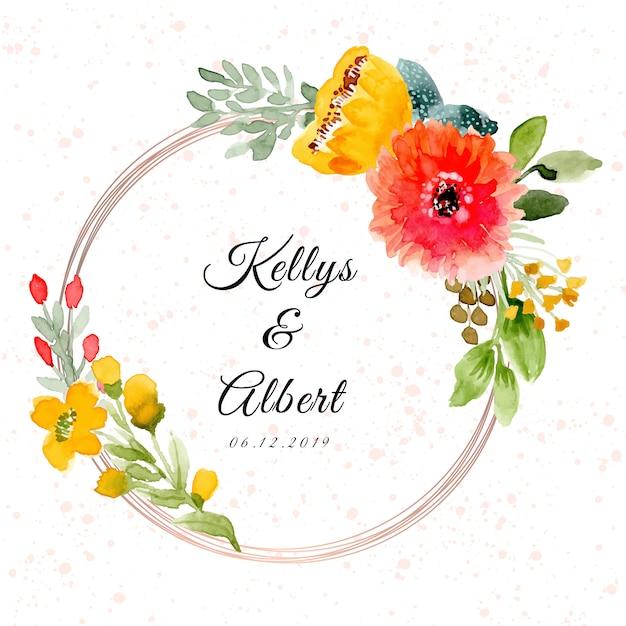 Hochzeitsabzeichen mit schönem aquarellblumenrahmen Premium Vektoren