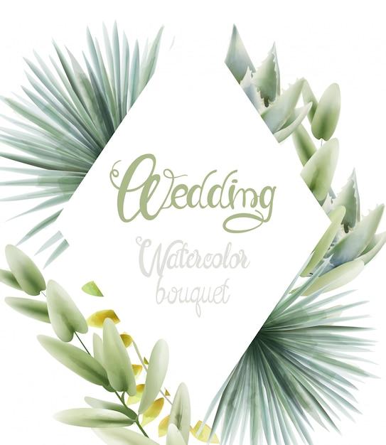 Hochzeitsaquarellblumenstrauß mit palmblättern Premium Vektoren