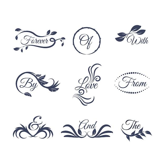 Hochzeitsbeschriftung mit verschiedenen ornamenten Kostenlosen Vektoren
