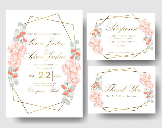 Hochzeitsblumeneinladung mit rosen und eukalyptusblättern Premium Vektoren