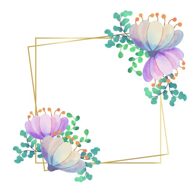 Hochzeitsblumenrahmen im quadratischen stil Kostenlosen Vektoren