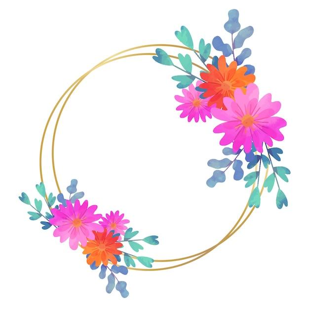 Hochzeitsblumenrahmen kreisförmigen stil Kostenlosen Vektoren