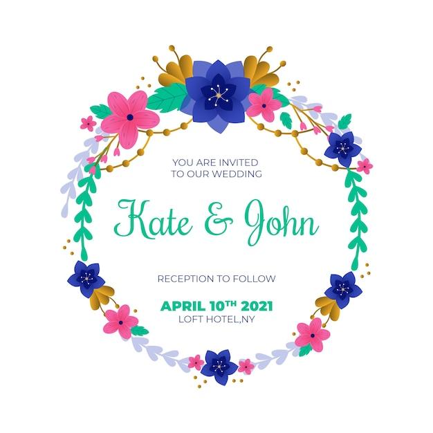 Hochzeitsblumenrahmeneinladungsschablone Kostenlosen Vektoren