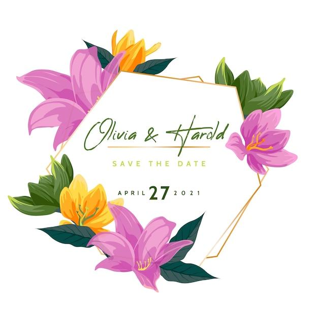 Hochzeitsblumenrahmenstil Kostenlosen Vektoren