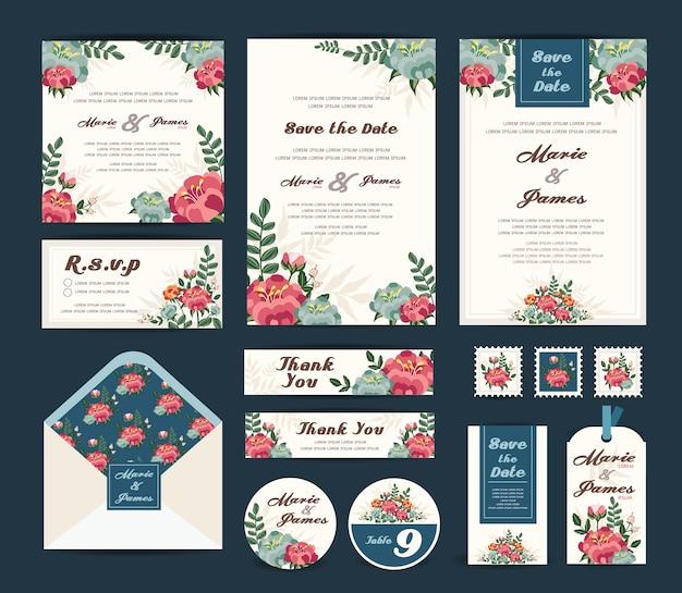 Hochzeitsblumenschablonensammlung. Premium Vektoren