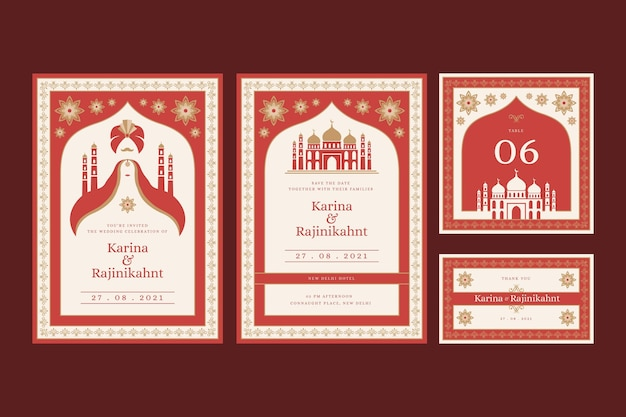 Hochzeitsbriefpapier für indisches paar mit orientalischen motiven Premium Vektoren