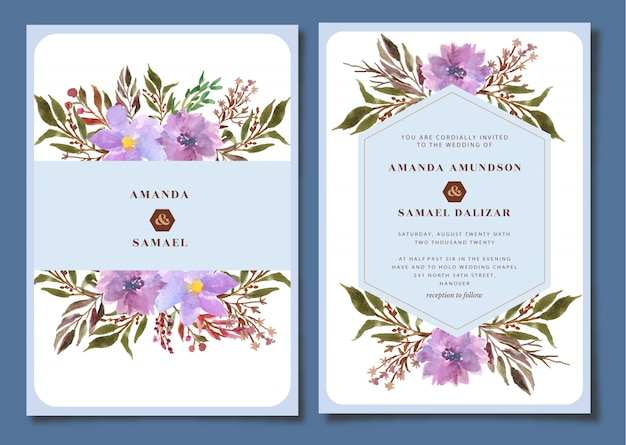 Hochzeitsbriefpapier mit blumenaquarell Premium Vektoren