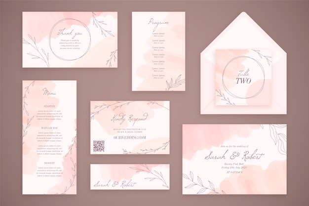 Hochzeitsbriefpapier mit umschlägen und blumen Kostenlosen Vektoren