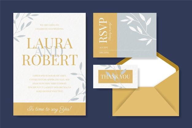 Hochzeitsbriefpapiereinladung und karten mit umschlag Kostenlosen Vektoren