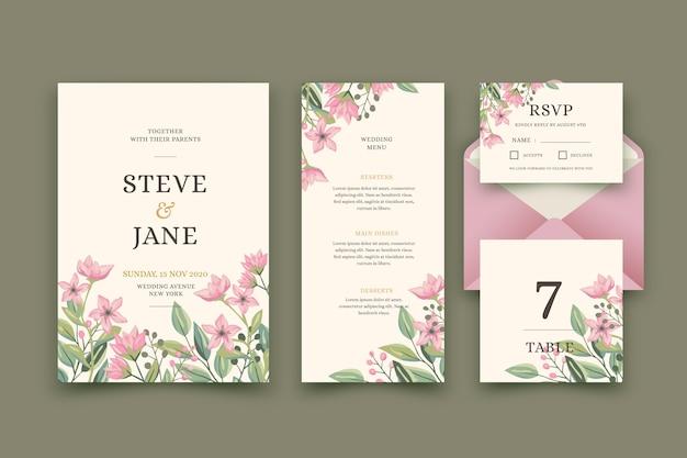 Hochzeitsbriefpapierkonzept Kostenlosen Vektoren