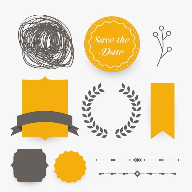 Hochzeitsdekorations-Gestaltungselemente im gelben Thema Kostenlose Vektoren