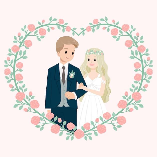 Hochzeitsehe mit rosafarbenem blumenrahmen Premium Vektoren