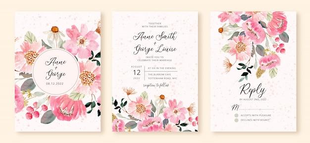 Hochzeitseinladung eingestellt mit rosa blumengartenaquarell Premium Vektoren