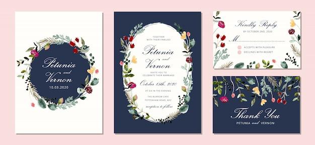 Hochzeitseinladung eingestellt mit schönem aquarellblumenrahmen Premium Vektoren
