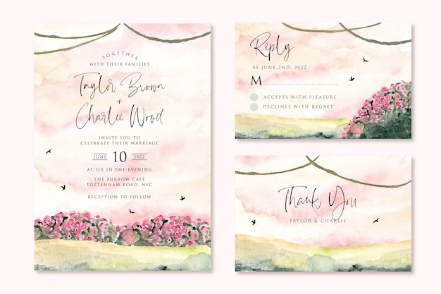 Hochzeitseinladung eingestellt mit verträumter rosa gartenaquarelllandschaft Premium Vektoren