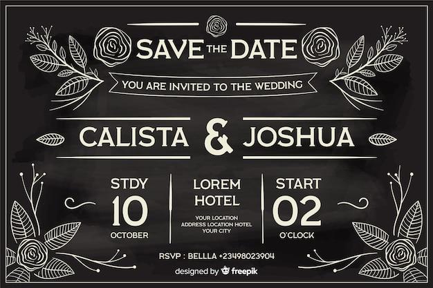 Hochzeitseinladung im retrostil geschrieben auf tafel Kostenlosen Vektoren