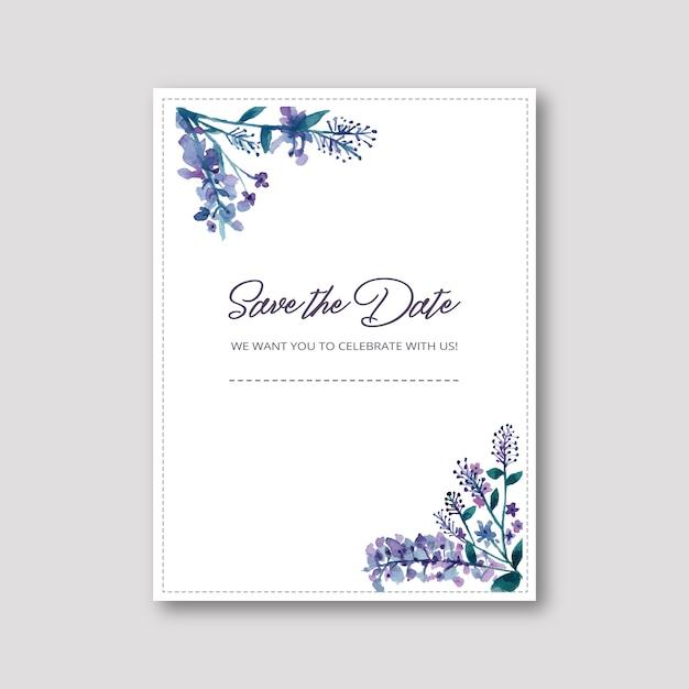 Hochzeitseinladung mit aquarellblumen Kostenlosen Vektoren