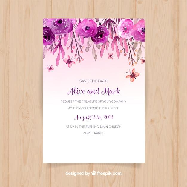Hochzeitseinladung mit Aquarellblumen Kostenlose Vektoren