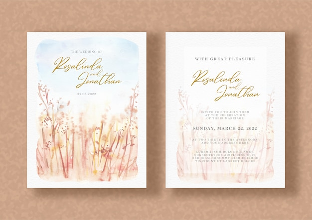 Hochzeitseinladung mit aquarellblumenmalerei Premium Vektoren