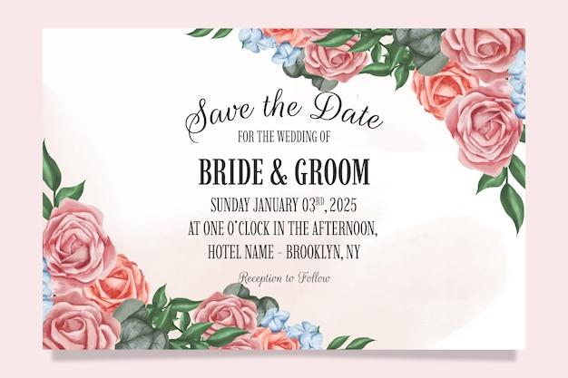 Hochzeitseinladung mit aquarellblumenmuster Premium Vektoren