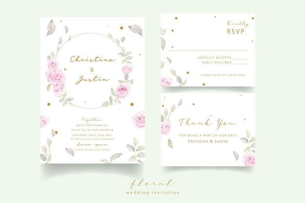 Hochzeitseinladung mit aquarellblumenrosen Kostenlosen Vektoren