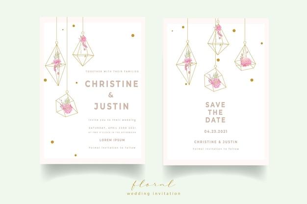 Hochzeitseinladung mit aquarelldahlienblumen Kostenlosen Vektoren