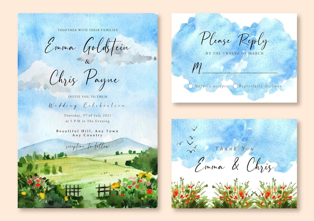 Hochzeitseinladung mit aquarelllandschaft des blauen himmels und des grünen feldes Premium Vektoren