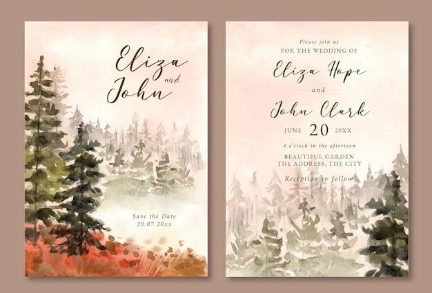 Hochzeitseinladung mit aquarelllandschaft des nebligen kiefernwaldes Premium Vektoren