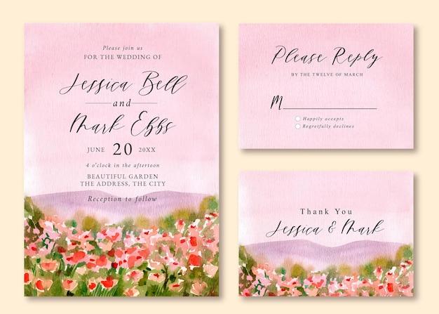 Hochzeitseinladung mit aquarelllandschaft des rosa blumenfeldes Premium Vektoren