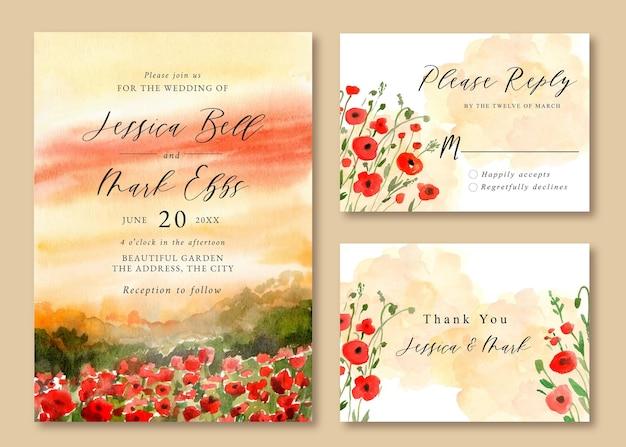 Hochzeitseinladung mit aquarelllandschaft des roten mohnfeldes Premium Vektoren