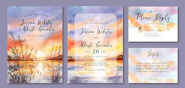 Hochzeitseinladung mit aquarelllandschaft des schönen sonnenuntergangs und des sees Premium Vektoren