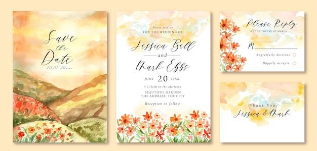 Hochzeitseinladung mit aquarelllandschaft des schönen sonnenuntergangsorangenblumenfeldes Premium Vektoren