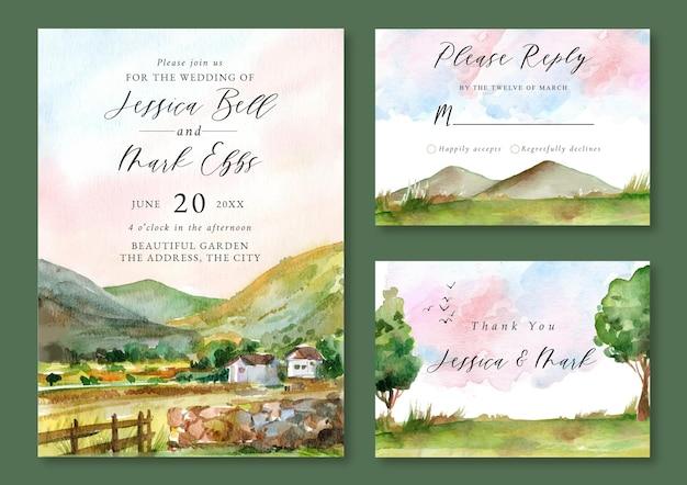 Hochzeitseinladung mit aquarelllandschaft von berg und grünem feld und hügeln Premium Vektoren