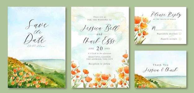Hochzeitseinladung mit aquarelllandschaft von ocean beach und blumenfeld Premium Vektoren