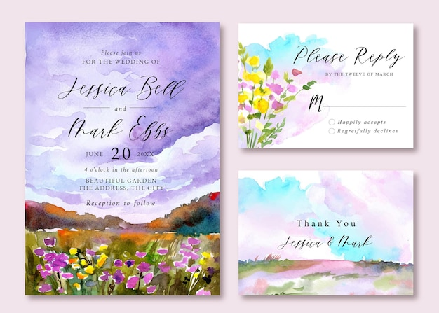 Hochzeitseinladung mit aquarelllandschaft von sonnenuntergangshimmel und buntem blumenfeld Premium Vektoren