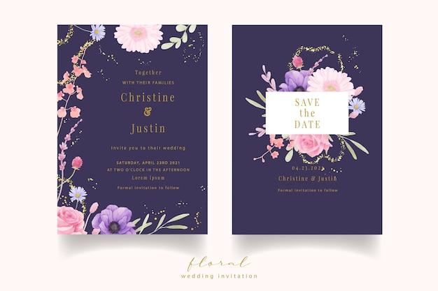 Hochzeitseinladung mit aquarellrose, anemone und gerberablumen Kostenlosen Vektoren