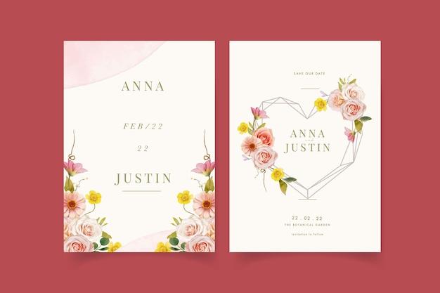 Hochzeitseinladung mit aquarellrosen und zinnie Kostenlosen Vektoren