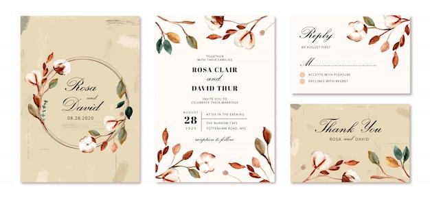 Hochzeitseinladung mit baumwolle blumen gesetzt Premium Vektoren