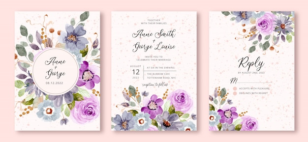 Hochzeitseinladung mit blauem lila blumenaquarellhintergrund eingestellt Premium Vektoren
