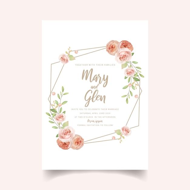 Hochzeitseinladung mit blumen mit blumengartenrosen Premium Vektoren