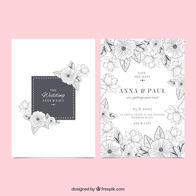 Hochzeitseinladung mit Blumen-Skizzen Kostenlose Vektoren