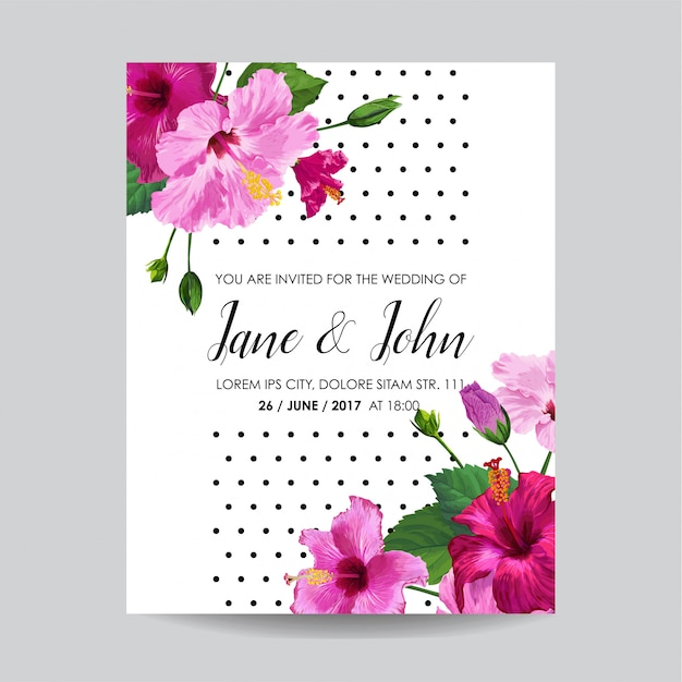 Hochzeitseinladung mit blumen. speichern sie die datumskarte Premium Vektoren