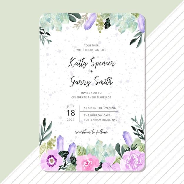 Hochzeitseinladung mit blumen- und kristallaquarellrahmen Premium Vektoren