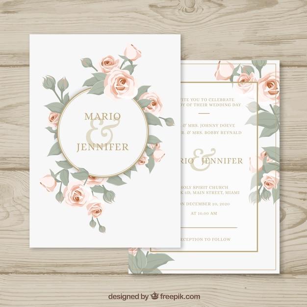 Hochzeitseinladung mit Blumenkreis Kostenlose Vektoren