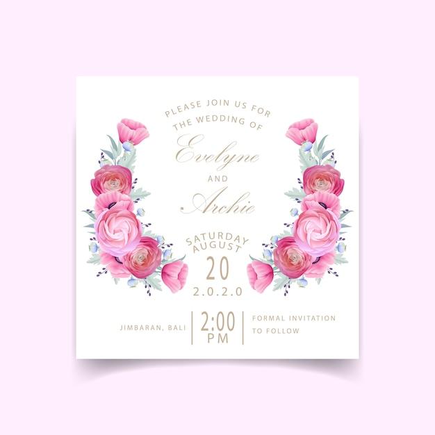 Hochzeitseinladung mit blumenranunculus- und mohnblumenblumen Premium Vektoren