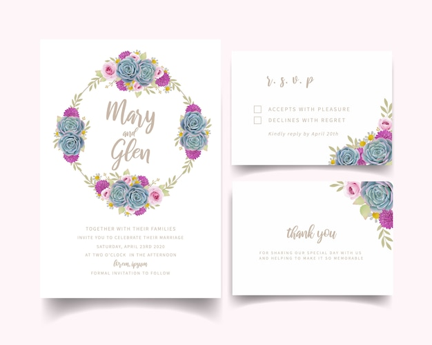Hochzeitseinladung mit blumenrosen und succulent Premium Vektoren
